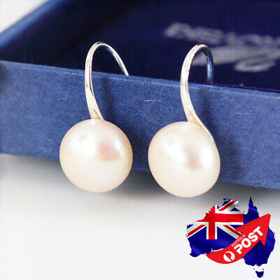 925 Sterling Silver Genuine 9mm/ 11mm Freshwater Pearl Hook Drop Stud Earrings