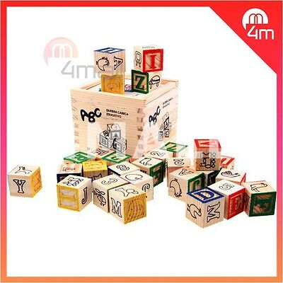 48 PCS Kids Boys Girls Educational Wooden Blocks Alphabet Numbers Building Toy