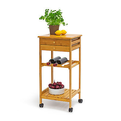 JAMES Medium Bamboo Kitchen Island Kitchen Cart Rolling Trolley Serving Cart