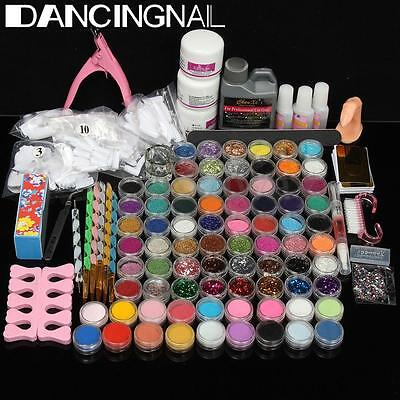 Full 78 Acrylic Powder Glitter Liquid Nail Art DIY Kit Set Tips Brush Glue Tool