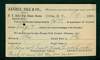 1889 Cuba,NY - Akerly,Sill & Co. N.Y. State Full Cream Cheese Postal Card