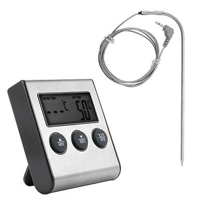 Digital LCD Food Temperature Probe Oven Thermometer Kitchen Timer Cooking BI255