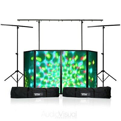 Disco DJ Booth 4ft Mobile DJ Box Shelf DJ Screen Disco Stands & Cases Package
