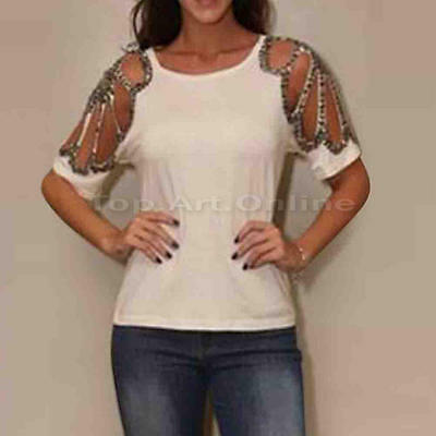 Fashion Lady Summer Casual Solid Hollow Short Sleeve Blouse Chiffon Tops T-Shirt
