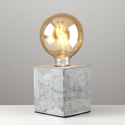 Industrial Style Concrete / Cement Cube Edison Table Lamp Bedside Light