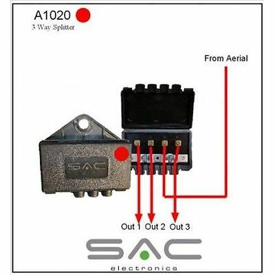 SAC 3 Way Outdoor TV Aerial Signal Splitter Freeview UHF DAB FM RED A1020
