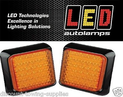 2 x LED Autolamps 80AME Trailer & Commercial Vehicle Square Indicator LED 12/24V