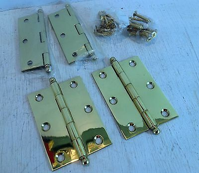2 Pairs of Ball Tip Loose Pin Polished Solid Brass Hinges, 85x60x2.4mm (5804)