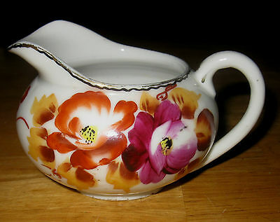 Great Little Hand Painted Nippon Creamer Gold Accent Nice Colors Of Flowers