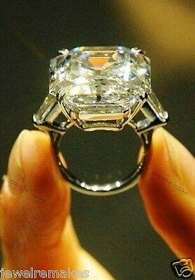 12CT 16x13 MM ASSCHER CUT ELIZABETH TAYLOR INSPIRED 925 SILVER ENGAGEMENT RING