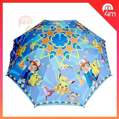 Kids Boys Rain Water Proof Umbrella Raincoat Parasol Pokemon Go Pikachu Game