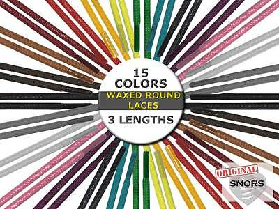 SHOELACES WAXED ROUND LACES - 15 Colors - 3 Lengths - Replacement shoelaces