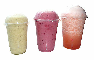 12oz Smoothie / frappe plastic cups and domed lids x 1000! VAT Included
