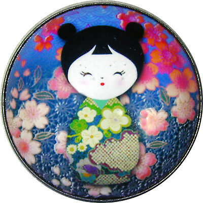 Crystal Dome Button Japanese Kokeshi Doll #5