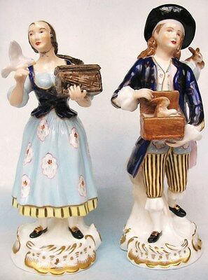 Vintage Pair Adderley Porcelain Figures Bird Catcher / Rabbit Boy