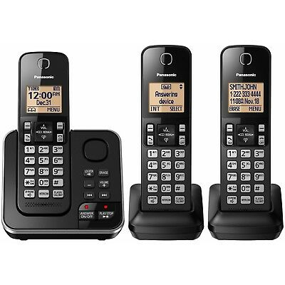 Panasonic DECT 6.0 3 Handset Digital Cordless Phone with Answering System - NEW