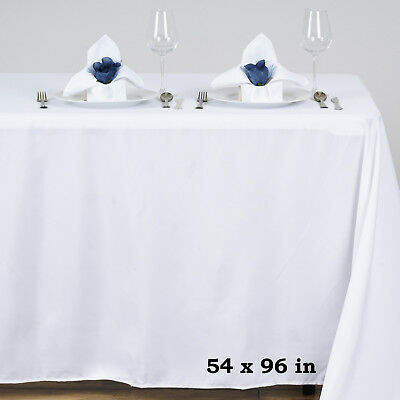 """White POLYESTER 54x96"""" RECTANGLE TABLECLOTHS Wedding Party Catering Dinner Linen"""