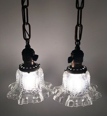 "18"" Long Matched Wired Vintage Pendant Lights Pair Ruffeled Glass Globes"