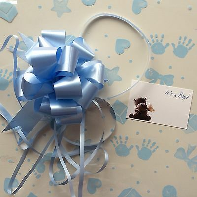 Cellophane gift wrap 5m x 80 cm-Blue Baby Boy - 3 X FREE PULL BOW & CARDS