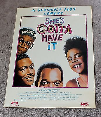 Shes Gotta Have It 1986 Spike Lee B&W PROMO ORIGINAL Movie Video Poster VGEX