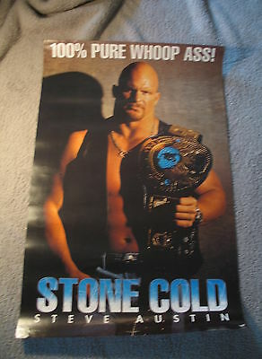 Stone Cold Steve Austin 1998  WWF 100% Pure Whoop Ass Poster VGEX C7