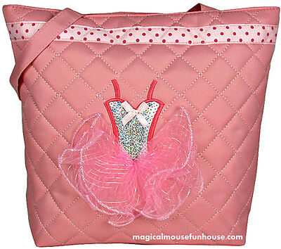 Dance Tote Bag Light Pink Quilted with Sequin Ballerina Tutu Dress