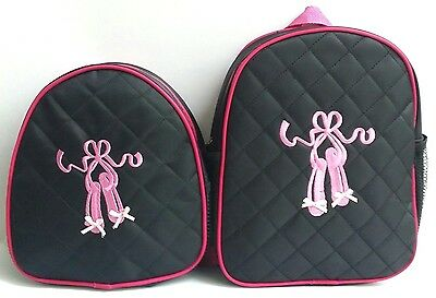 NEW Girls Black Fuchsia Pink trim Baby Pink ballerina slippers Quilted Backpack
