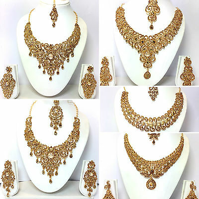 New Necklace Earring Set Head Piece Jewellery Indian Bridal Bollywood Jewelry