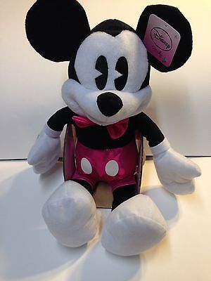 Mickey Mouse Disney Valentine's Day Plush Pink Shorts And Pink Bow Tie! New!