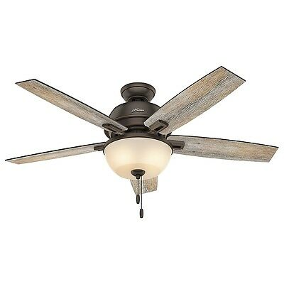 """Hunter 52"""" Donegan Onyx Bengal Ceiling Fan with Light"""