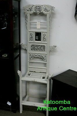 Antique Style White Painted Chinese Oriental Wash hall Stand