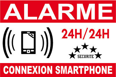 "ALARME CONNEXION SMARTPHONE "" Lot de 7 autocollants de dissuasion"""