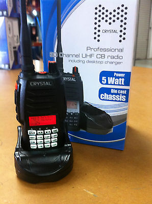 **brand New** Crystal Dbh50R 5 Watt Hand Held Uhf Radio 80Ch Cb 2 Way Radio