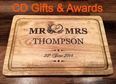 Personalised Laser Engraved Wooden Chopping Mr & Mrs Cheese Board Wedding Gift