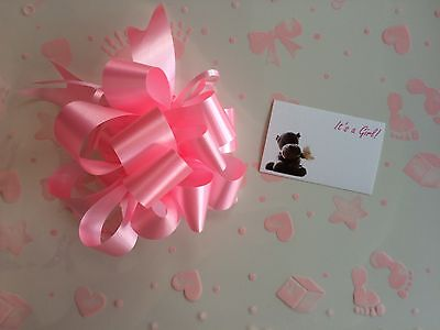 Cellophane gift wrap 5m x 80 cm-Pink Baby Girl FREE x 3 PULL BOWS & CARDS