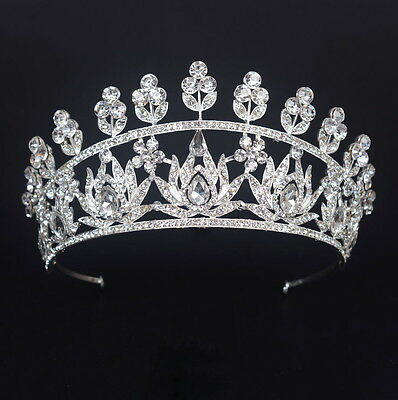 8cm High Large Crystal Drip Leaf Wedding Bridal Party Pageant Prom Tiara Crown