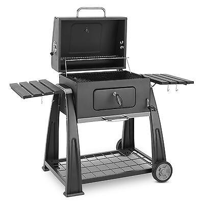 Klarstein Bbq Large Surface Area Charcoal Grill Smoker Steel Mobile Hood Black