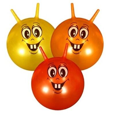 Smiley Face Bouncer 45cm Kids Space Hopper - Red, Yellow or Orange (1 Supplied)