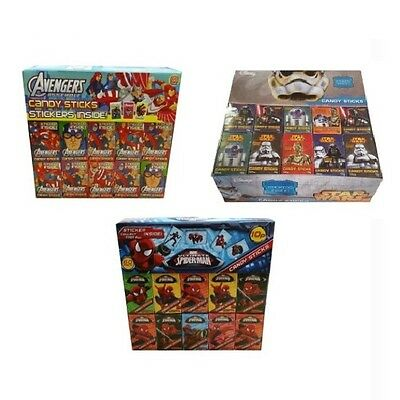 Assorted Character Marvel - Candy Sweets Sticks & Sticker (6, 12 or 60 Packs)