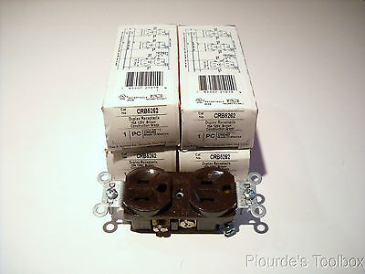 Lot of (4) Pass & Seymour 15A 125V Brown Receptacles, NEMA 5-15R, CRB5262