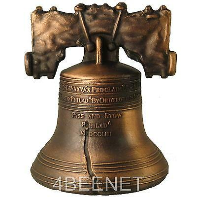 "2.5"" inch high LIBERTY BELL authentic replica ANTIQUE BRONZE FINISH clapper NEW"