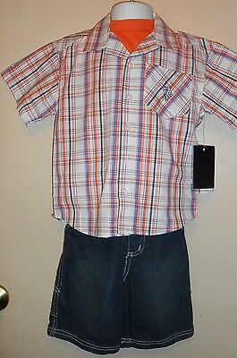US Polo Assn Toddler Boys Three (3) Piece Denim Short Set Orange Spectrum 2T NWT