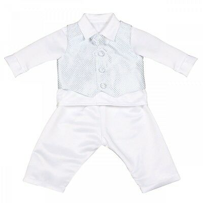 Baby Boys White Blue Check 4 Piece Suit Christening Outfit Christening Suit