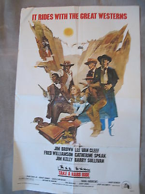 TAKE A HARD RIDE 1975 Lee Van Cleef Western Jim Brown One Sheet Poster G+ C4