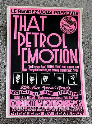 That Petrol Emotion 1993 Voice of the Beehive Concert PROMO Poster VG C6