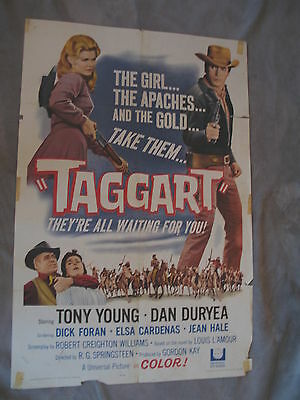 Taggart 1964 LOUIS L'AMOUR Dick Foran Dan Duryea One Sheet Movie Poster GVG C5