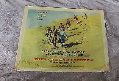 They Came to Cordura 1959 Gary Cooper Rita Hayworth Army Half Sheet Poster G C4