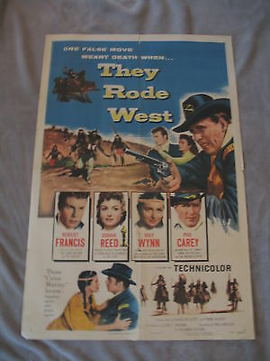 They Rode West 1954 Donna Reed Phil Carey One Sheet Movie Poster VG C6