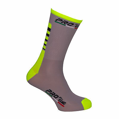 Calzini Ciclismo Proline Team Grigiogia Fluo Cycling Socks 1 Paio One Size New