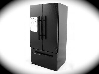 Black Fridge Freezer, Doll House Miniature Modern Fridge, 1,12 Scale